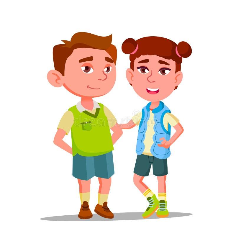 Charaktere Junge und Mädchen mit Syndrom hinunter Vektor lizenzfreie abbildung