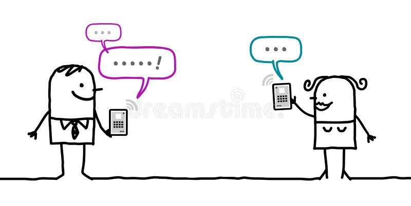 Charaktere mit Tablette - Mitteilung lizenzfreie abbildung