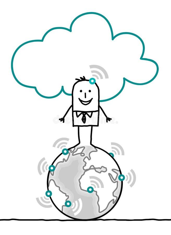 Charaktere und Wolke - Welt lizenzfreie abbildung