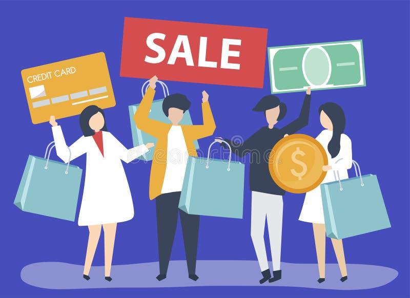 Charaktere von den Leuten, die Einkaufsikonenillustration halten stock abbildung