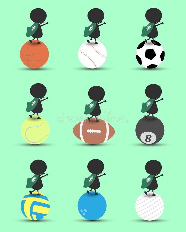 Charakterkarikaturstand des schwarzen Mannes auf Sportball und Hände up oben mit gewellter Macao-Flagge und grünem Hintergrund Fl vektor abbildung
