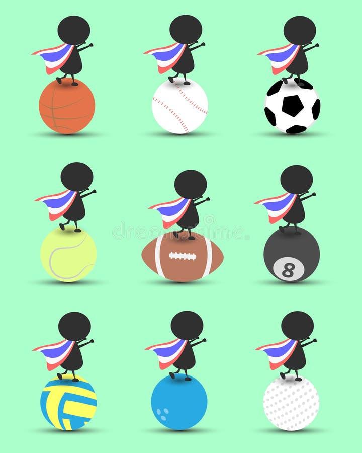 Charakterkarikaturstand des schwarzen Mannes auf Sportball und Hände up oben mit gewellter Thailand-Flagge und grünem Hintergrund lizenzfreie abbildung