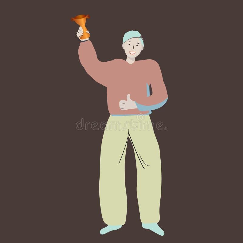 Charaktermannstellung mit einer Goldtrophäe auf Dunkelheit vektor abbildung