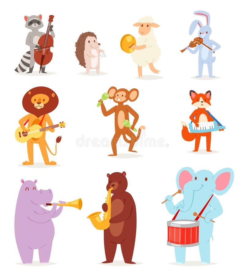 Charaktermusikerlöwe oder -kaninchen des Tiermusikvektors animalistic, die auf Musikinstrumenten Gitarre und Violine spielen lizenzfreie abbildung