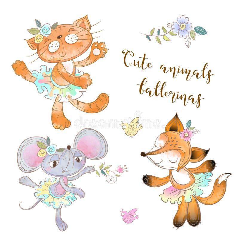Charakterspielzeugsatz Die Maus die Katze und der Fox in einem Ballettröckchen Tierballerinen Vektor vektor abbildung