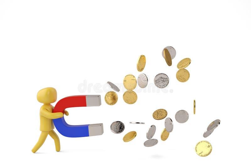 Charakteru chwyt duży magnes przyciągać monet 3D ilustrację royalty ilustracja