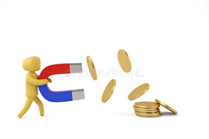 Charakteru chwyt duży magnes przyciągać monet 3D ilustrację ilustracja wektor