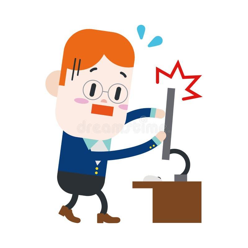 Charakteru ilustracyjny projekt Biznesmen łamający komputerowy carto royalty ilustracja