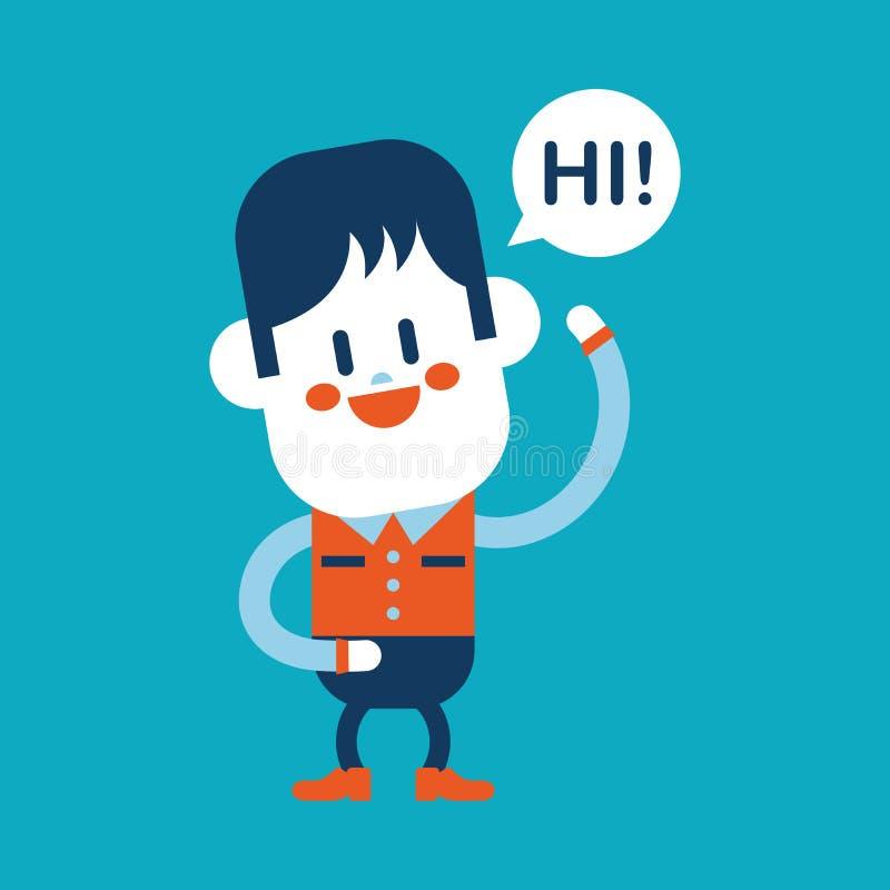 Charakteru ilustracyjny projekt Chłopiec mówi kreskówkę cześć, eps ilustracja wektor