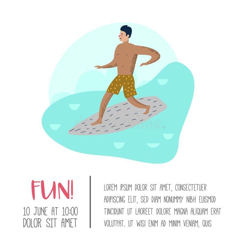 Charakteru mężczyzna surfing przy Plażowym plakatem, sztandar, broszurka Facet kreskówki surfingowiec Wodnego sporta pojęcie royalty ilustracja