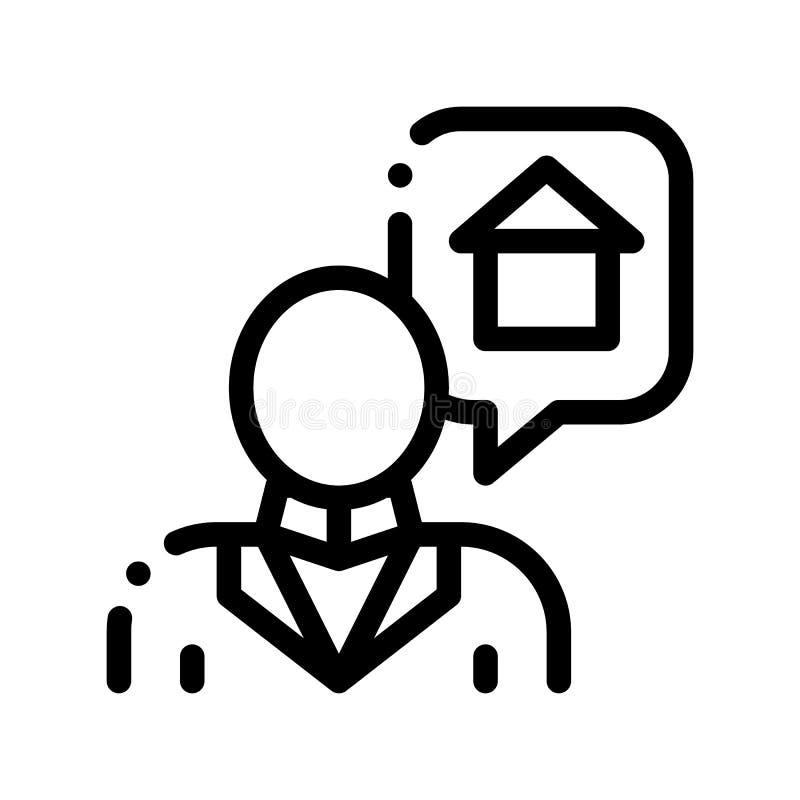 Charakteru mężczyzny główkowania sen zakupu domu wektoru ikona ilustracji