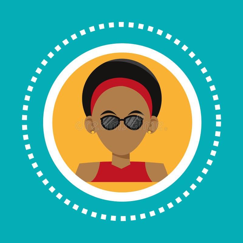 Charakteru modnisia mężczyzna okularów przeciwsłonecznych pierścionków socjalny środki ilustracja wektor