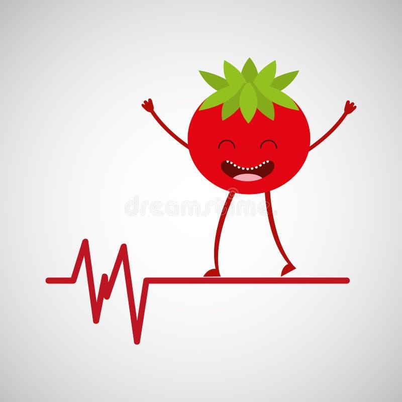 Charakteru pomidorowy zdrowy, heartrate ikony tło ilustracji