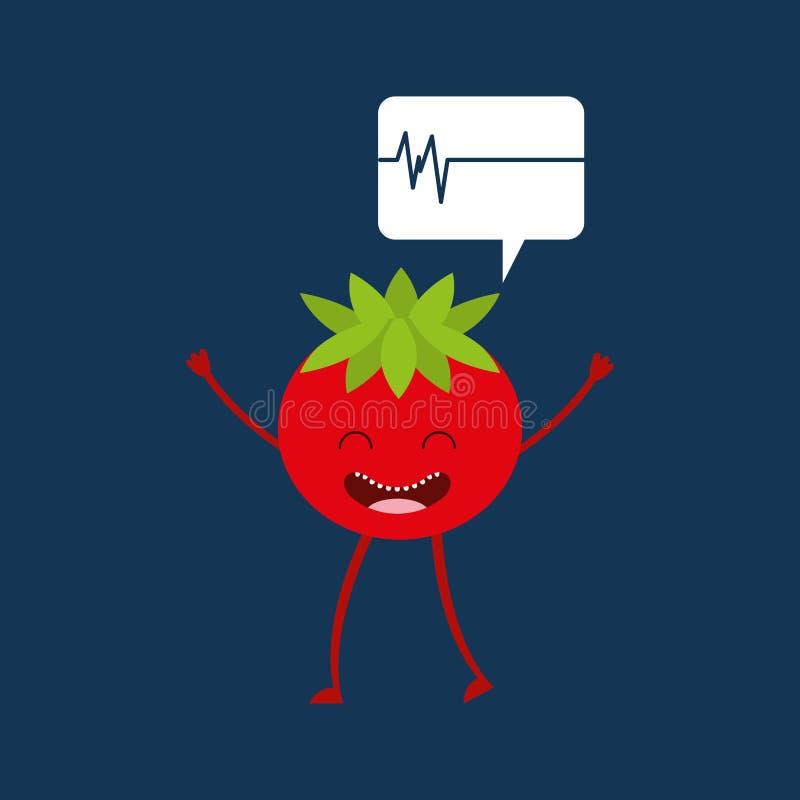 Charakteru pomidorowy zdrowy, heartrate ikony tło royalty ilustracja