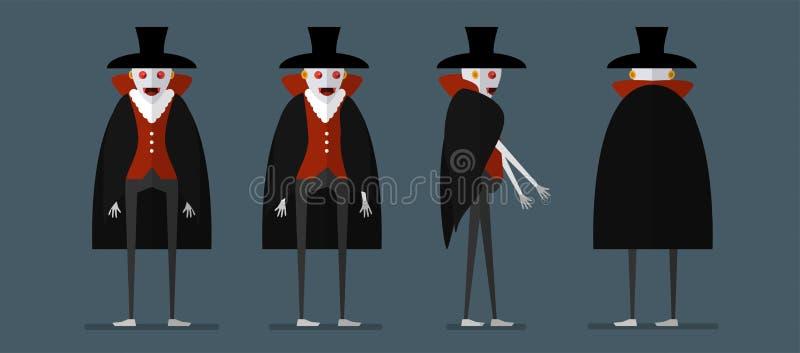 Charakteru projekt Dracula dla Halloweenowego dnia, 31 Październik, Vecto ilustracji