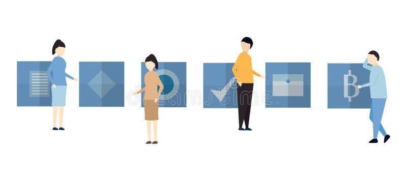 Charakteru projekt w scenie praca zespołowa biznes zawiera mężczyzna i w ilustracji