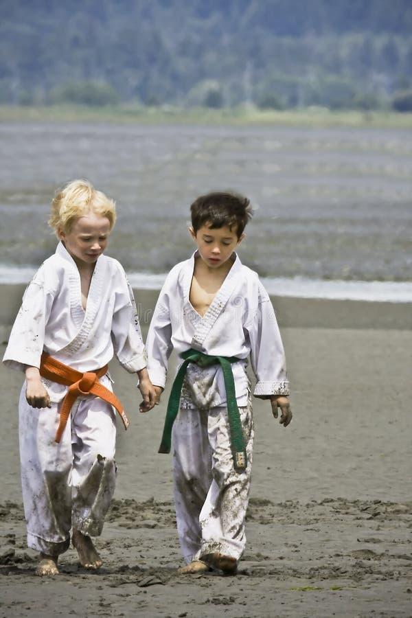 charakteru przyjaźni karate szkoła zdjęcia royalty free