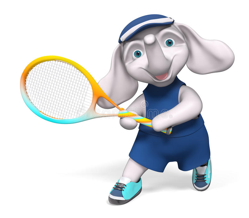 Charakteru słonia mienia tenisowy 3d rendering ilustracja wektor