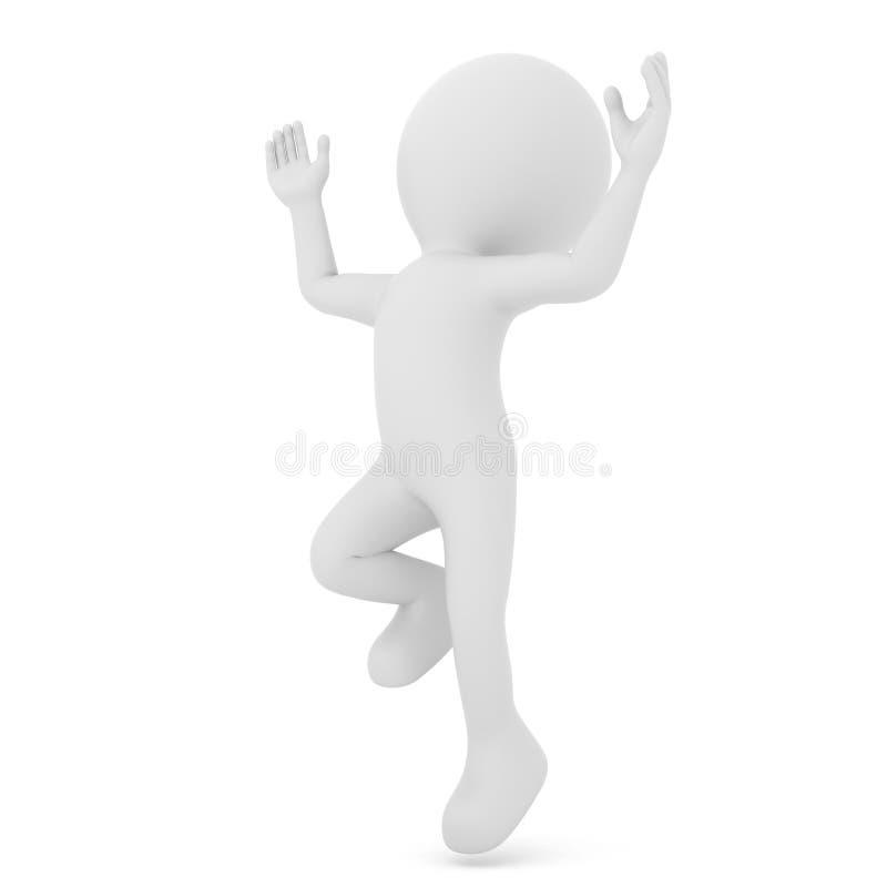 Charakteru szczęśliwy skok, odosobniony na białym tle ?wiadczenia 3 d ilustracja wektor