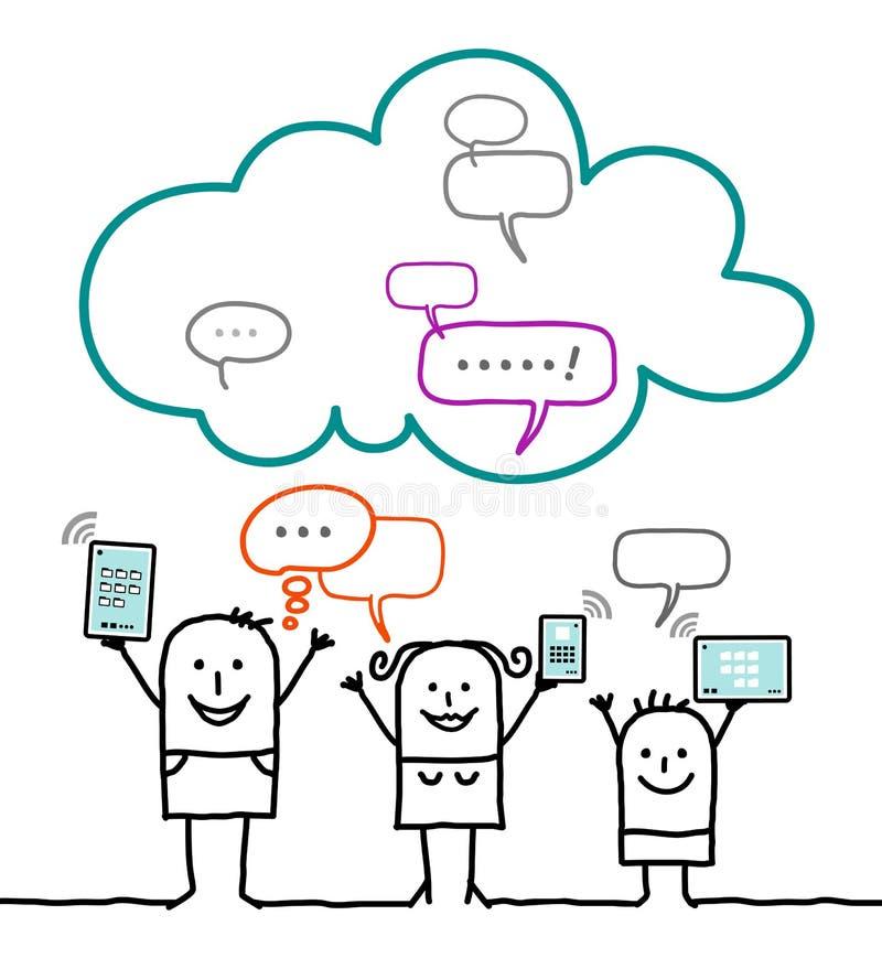 Charaktery i chmura - ogólnospołeczna sieć royalty ilustracja