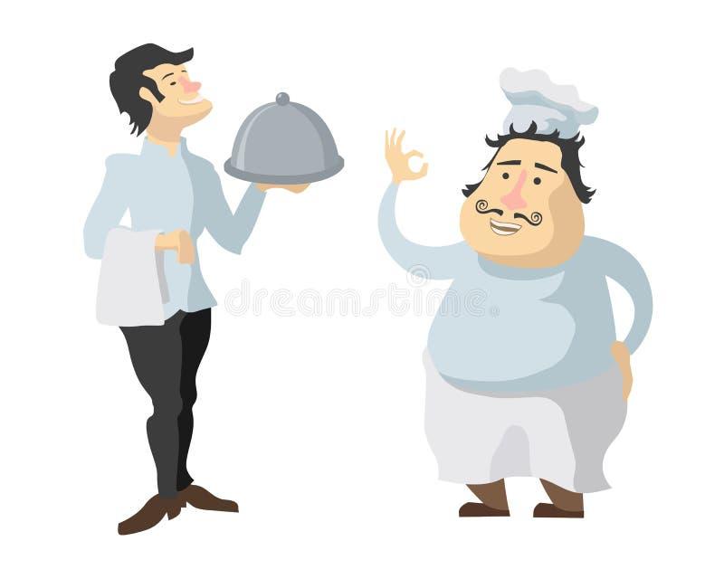 Charaktery kucharz i kelner odizolowywający na bielu ilustracja wektor