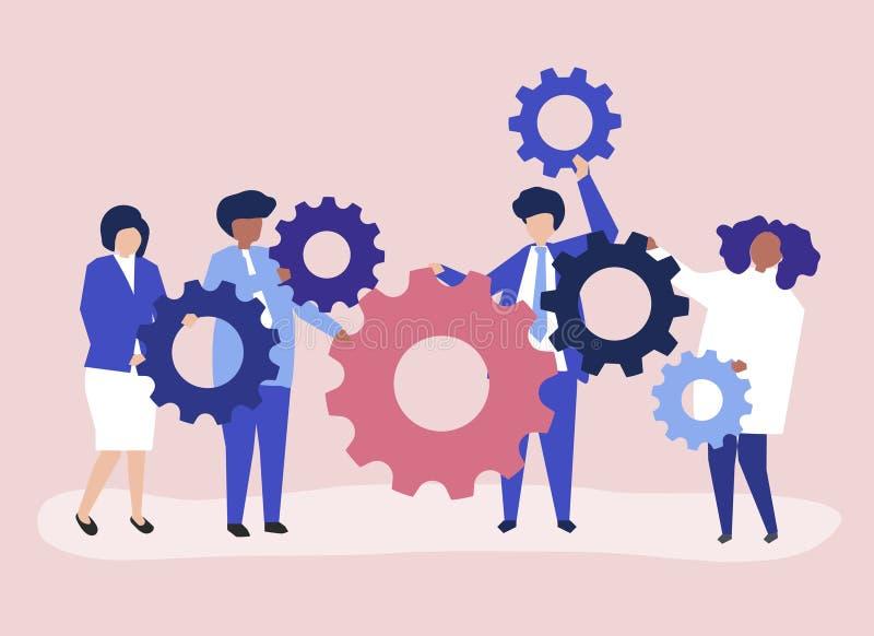 Charaktery ludzie biznesu trzyma cogwheels ilustracyjni ilustracji