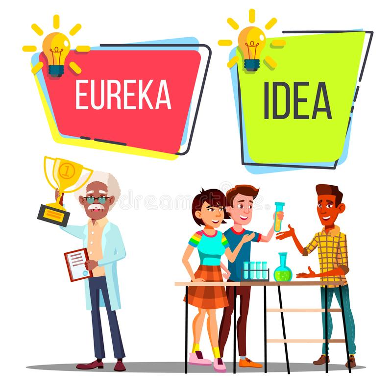 Charaktery Naukowego pomysł I Eureka wektor royalty ilustracja