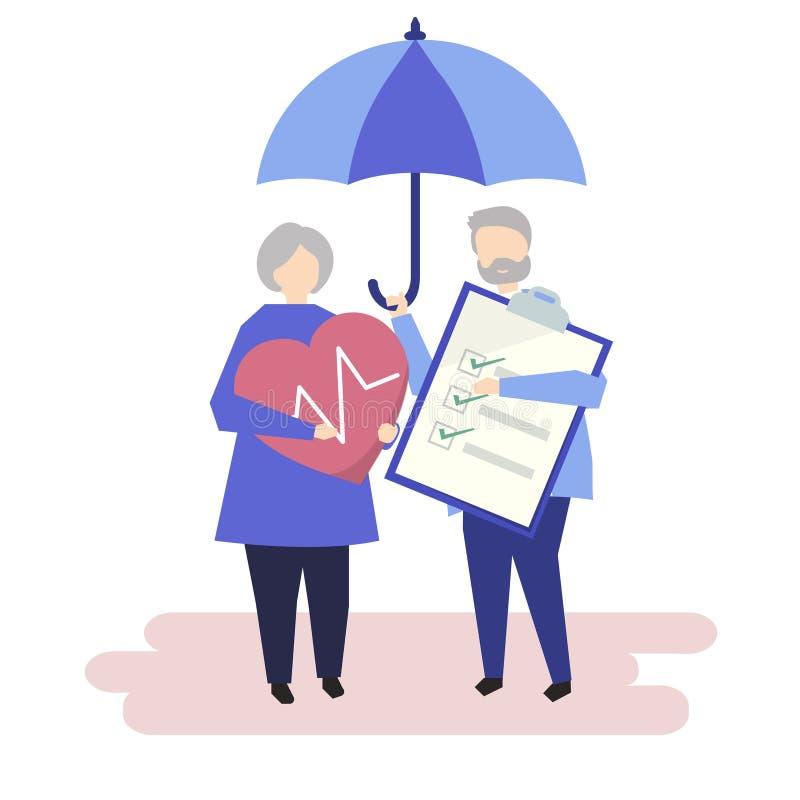 Charaktery starsza pary i ubezpieczenia zdrowotnego ilustracja