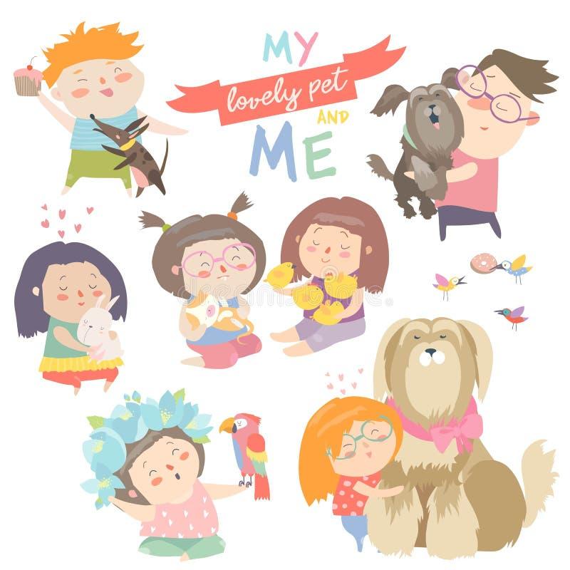 charaktery ustawiają Dzieci z zwierzętami domowymi royalty ilustracja