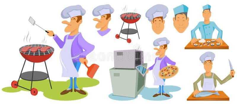 Charaktery ustawiający fachowi szefowie kuchni Robi wołowina stkowi Szefowie kuchni stoi w różnych pozach w białym kapeluszu Goto royalty ilustracja