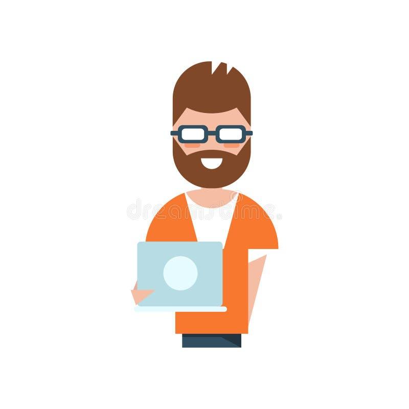 Charatcter del programador profesional, hombre sonriente que celebra el ejemplo del vector del ordenador portátil en un fondo bla stock de ilustración