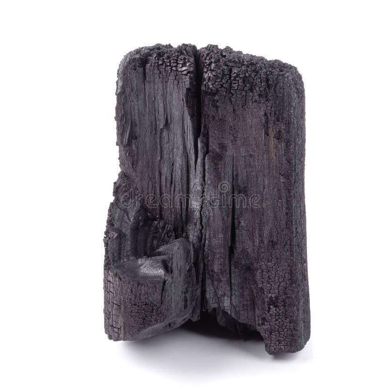 Charbon de bois naturel d'isolement sur le fond blanc image libre de droits