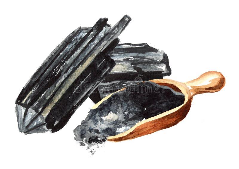 Charbon de bois naturel Grands morceaux et poudre Illustration tirée par la main d'aquarelle d'isolement sur le fond blanc illustration stock