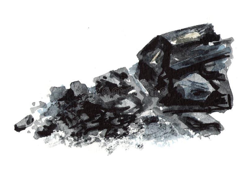 Charbon de bois naturel Illustration tirée par la main d'aquarelle, d'isolement sur le fond blanc illustration libre de droits