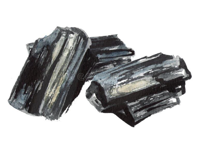 Charbon de bois naturel Illustration tirée par la main d'aquarelle d'isolement sur le fond blanc illustration stock
