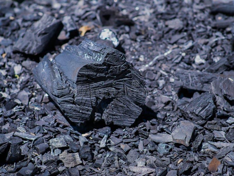 Charbon de bois noir naturel organique Le bois a brûlé images libres de droits