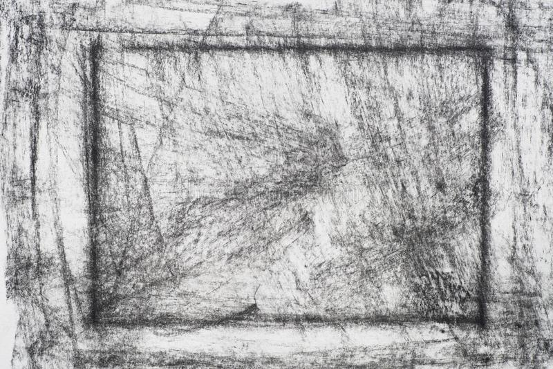 Charbon de bois sur la texture drowing de fond de papier images libres de droits