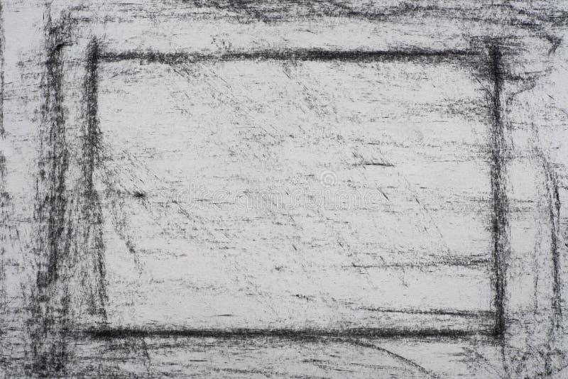 Charbon de bois sur la texture drowing de fond de papier photo stock