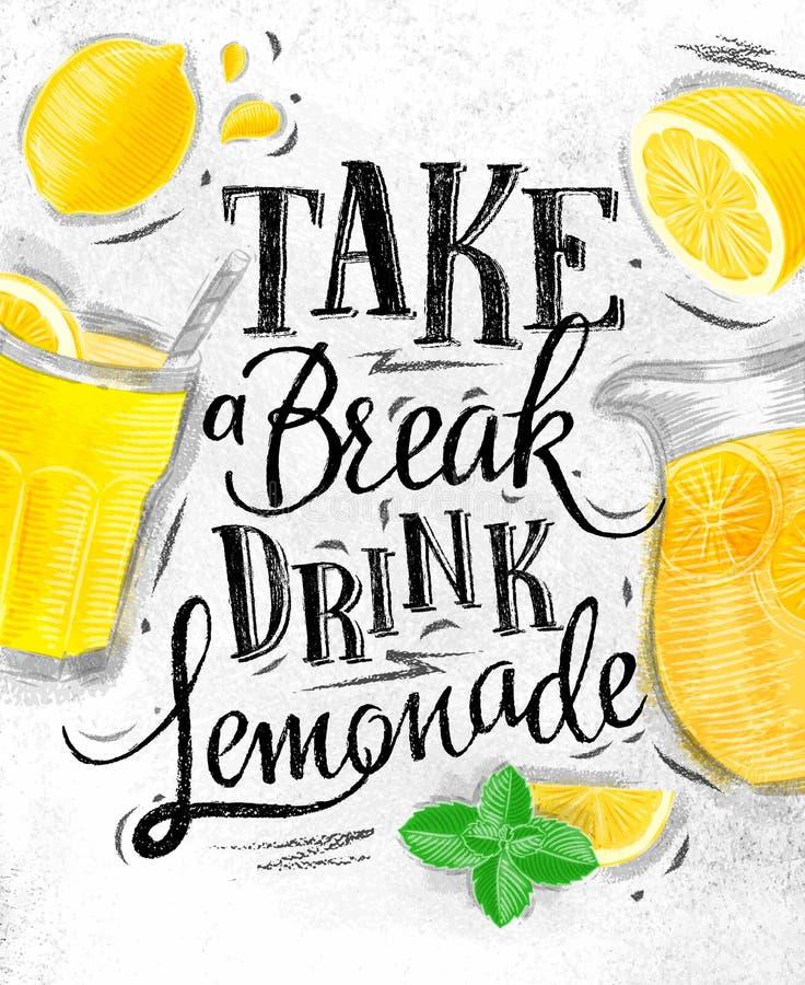 Charbon de limonade d'affiche illustration stock