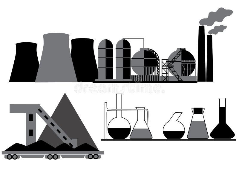 Charbon, produit chimique, industrie pétrolière illustration libre de droits