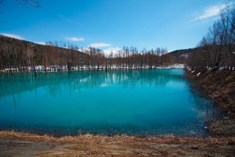Charca azul de Biei Shirogane fotos de archivo