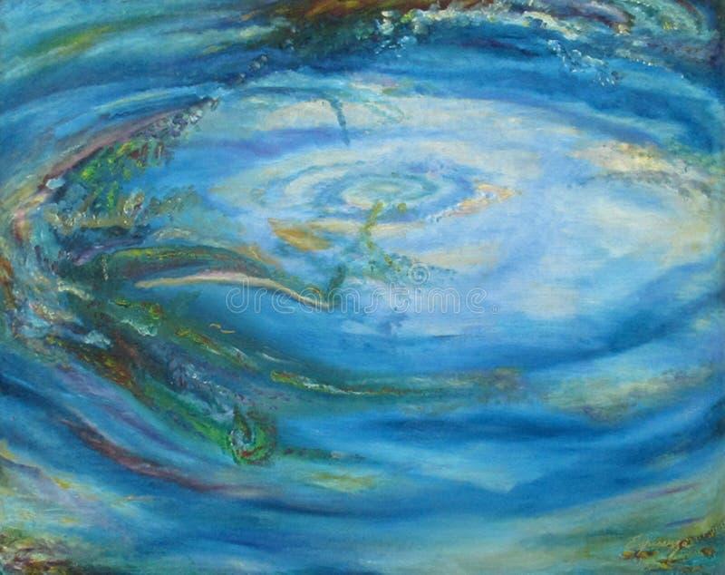 Charca de agua hermosa del extracto original de la pintura Buenos Aires al óleo la Argentina ilustración del vector