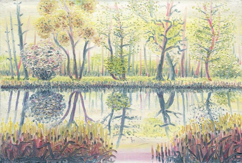Charca del bosque en primavera Pintura al óleo en lona stock de ilustración