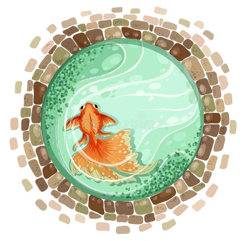 Charca del pez de colores stock de ilustración
