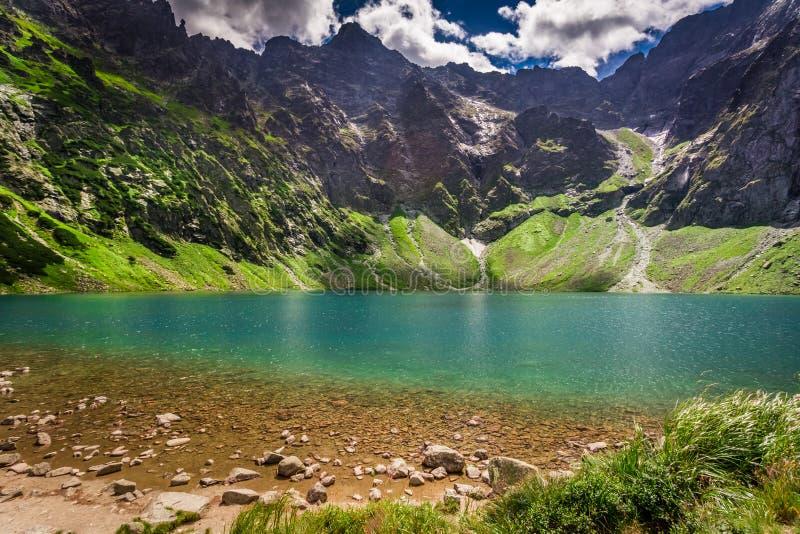 Charca hermosa en las montañas en el verano, Polonia fotografía de archivo
