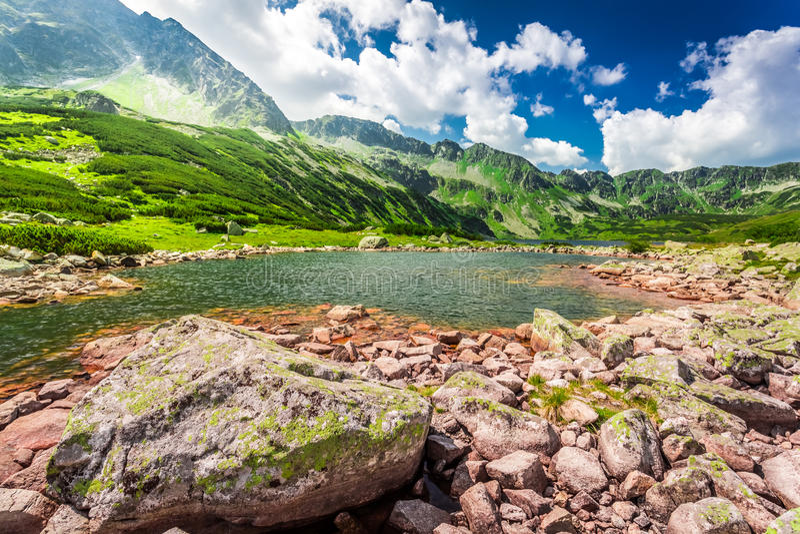 Charca maravillosa en las montañas fotos de archivo