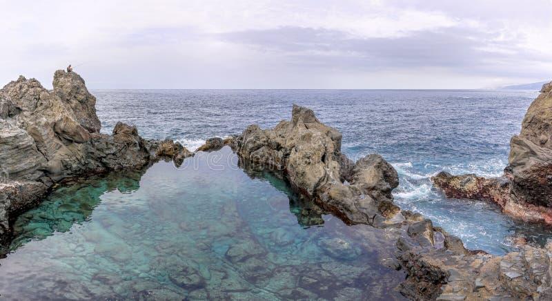 Charco de la Laja vid Kanarieöarnas nordkust på Teneriffa royaltyfri bild