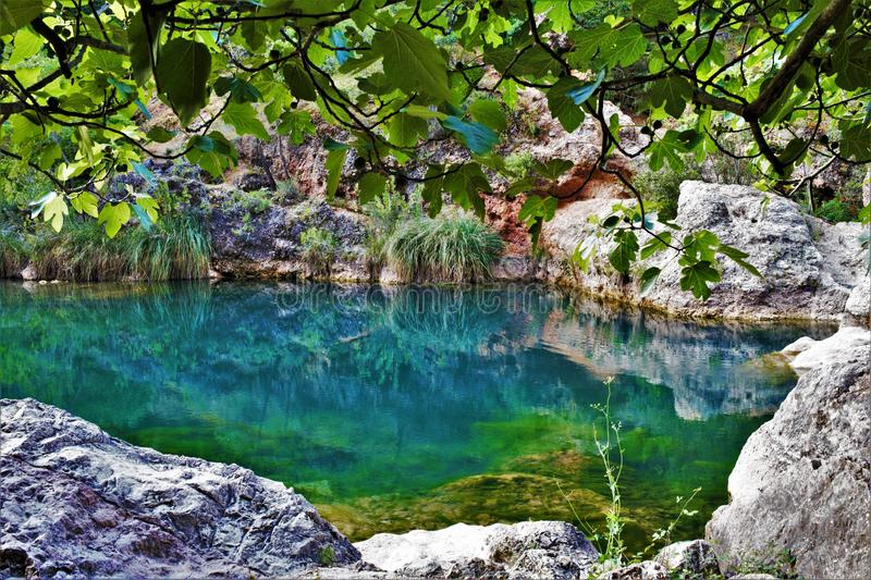 Charco del Aceite leisure lake in Cazorla. El Charco del Aceite is a lake for leisure and for swimming in summer in the natural park of Cazorla in the province stock photos