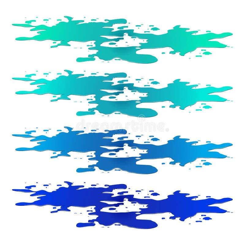 Charco del clipart del derramamiento del agua Mancha azul, chapaleteo, descenso Ejemplo del vector aislado en el fondo blanco ilustración del vector
