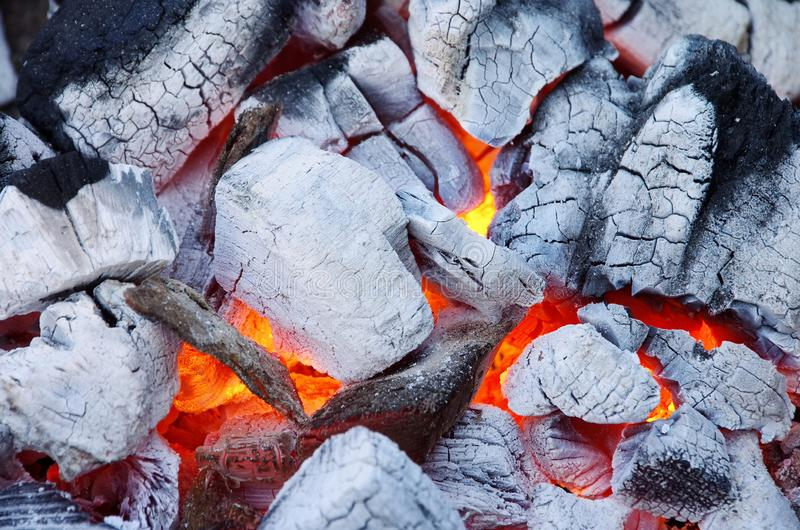Hot burning charcoal. In grill royalty free stock image